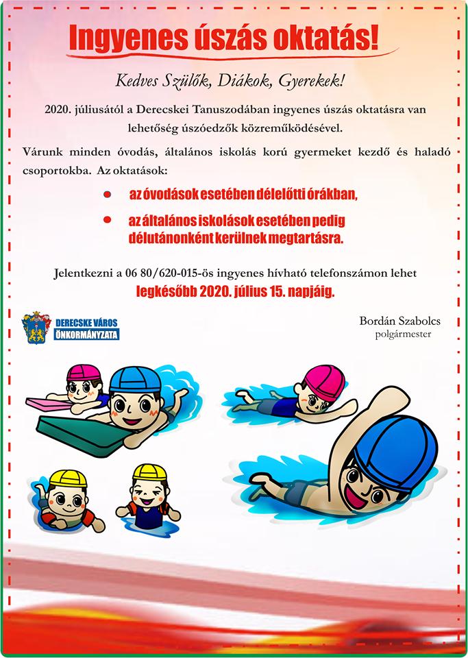 Térítésmentes nyári mozgáslehetőségek derecskei gyermekek számára-Úszás