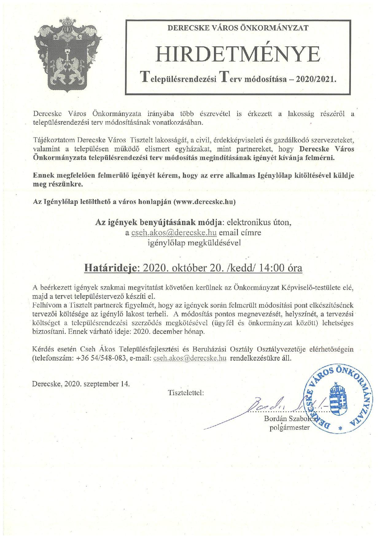 Településrendezési terv módosítása 2020/2021.